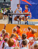 Den Bosch, Netherlands, 08 June, 2016, Tennis, Ricoh Open, KNLTB, Kidsday, Kids press conference with Jean-Julian Rojer and Demi Scheurs (NED)<br /> Photo: Henk Koster/tennisimages.com