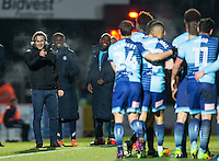 Wycombe Wanderers Manager Gareth Ainsworth points to winning goalscorer after his stunning strike during the Sky Bet League 2 match between Wycombe Wanderers and Newport County at Adams Park, High Wycombe, England on 2 January 2017. Photo by Andy Rowland.