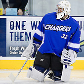 CJ Groh (UAH - 32) - The University of Massachusetts-Lowell River Hawks defeated the University of Alabama-Huntsville Chargers 3-0 on Friday, November 25, 2011, at Tsongas Center in Lowell, Massachusetts.