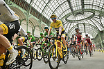 The peloton including Yellow Jersey Chris Froome (GBR) Team Sky ride through le Grand Palais during Stage 21 of the 104th edition of the Tour de France 2017, an individual time trial running 1.3km from Montgeron to Paris Champs-Elysees, France. 23rd July 2017.<br /> Picture: ASO/Pauline Ballet | Cyclefile<br /> <br /> <br /> All photos usage must carry mandatory copyright credit (&copy; Cyclefile | ASO/Pauline Ballet)