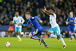 Jamie Vardy of Leicester City gets away from Vurnon Anita of Newcastle during the Barclays Premier League match at The King Power Stadium.  Photo credit should read: Malcolm Couzens/Sportimage