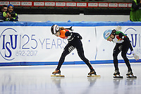 SHORT TRACK: TORINO: 14-01-2017, Palavela, ISU European Short Track Speed Skating Championships, Final A 500m Ladies, Rianne de Vries (NED), Martina Valcepina (ITA), ©photo Martin de Jong
