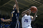 04 November 2016: Duke's Frank Jackson (15) pulls a rebound away from Augustana's John Warren (left). The Duke University Blue Devils hosted the Augustana University Vikings at Cameron Indoor Stadium in Durham, North Carolina in a 2016-17 NCAA Division I Men's Basketball exhibition game.