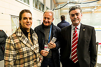 19th November 2019, Berlin, Germany. World Para Ice Hockey Championships, Germany versus Great Britain;   Katarina Witt, Friedhelm Julius Beucher with Ian Wood Team manager