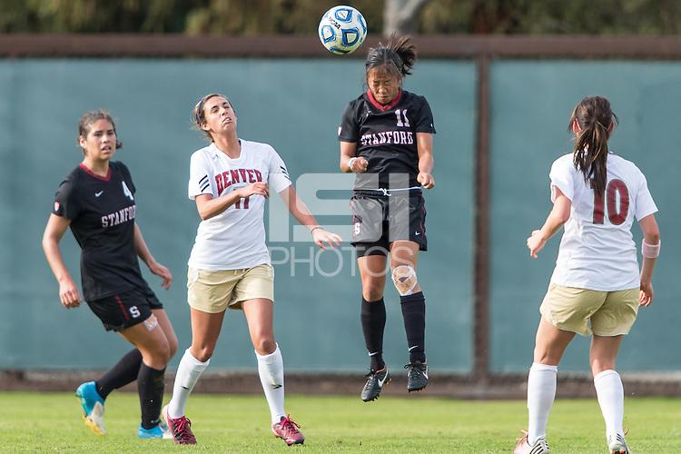 STANFORD, CA - November 18, 2012: Stanford vs Denver NCAA tournament third-round women's soccer match in Stanford, California. Stanford won 3-0.