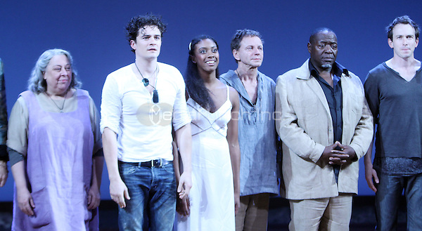 NEW YORK, NY - SEPTEMBER 19: Orlando Bloom and Condola Rashad during the curtain call for the Opening Night of Romeo &amp; Juliet at the Richard Rodgers Theatre in New York City.<br />