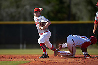 Illinois State Redbirds shortstop Owen Miller (8) throws to first base as Ronnie Dawson (4) slides in during a game against the Ohio State Buckeyes on March 5, 2016 at North Charlotte Regional Park in Port Charlotte, Florida.  Illinois State defeated Ohio State 5-4.  (Mike Janes/Four Seam Images)