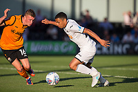 Jefferson Montero of Swansea City takes on Harry Taylor of Barnet during the 2017/18 Pre Season Friendly match between Barnet and Swansea City at The Hive, London, England on 12 July 2017. Photo by Andy Rowland.