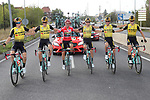 Team Jumbo-Visma Lennard Hofstede and Robert Gesink (NED), overall winner Red Jersey Primoz Roglic (SLO), George Bennett (NZL), Sepp Kuss and Neilson Powless (USA) ride in formation during Stage 21 of La Vuelta 2019 running 106.6km from Fuenlabrada to Madrid, Spain. 15th September 2019.<br /> Picture: Luis Angel Gomez/Photogomezsport | Cyclefile<br /> <br /> All photos usage must carry mandatory copyright credit (© Cyclefile | Luis Angel Gomez/Photogomezsport)