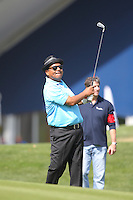 Comedian George Lopez on the 1st  during the Captain/Celebrity scramble exhibition at the Ryder Cup 2012, Medinah Country Club,Medinah, Illinois,USA.Picture: Fran Caffrey/www.Golffile.ie.