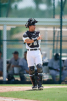 GCL Pirates catcher Ryan Haug (43) signals to the defense during a game against the GCL Tigers West on August 13, 2018 at Pirate City Complex in Bradenton, Florida.  GCL Tigers West defeated GCL Pirates 5-1.  (Mike Janes/Four Seam Images)