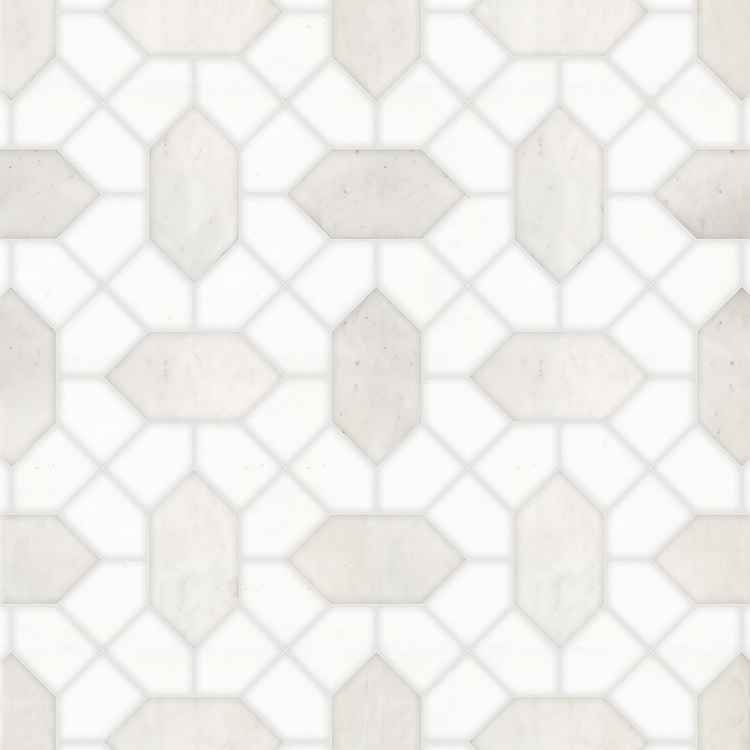 Winona, a waterjet stone mosaic, shown in polished Afyon White and honed Thassos, is part of the Semplice® collection for New Ravenna.