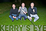 FORE: Martin O'Connor, Leonard Fitzgerald and David Hayes aiming to hit the green at the Deerpark Pitch and Putt in the Dark on Saturday night was l-r: Alan Kelly, Jamie Doolan and Philip O'Connor