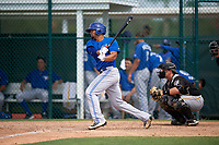 Toronto Blue Jays Josh Almonte (17) at bat in front of catcher John Bormann (30) during a minor league Spring Training game against the Pittsburgh Pirates on March 24, 2016 at Pirate City in Bradenton, Florida.  (Mike Janes/Four Seam Images)