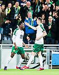 Stockholm 2015-03-01 Fotboll Svenska Cupen Hammarby IF - Landskrona BoIS :  <br /> Hammarbys Amadayia Rennie gratuleras av Birkir Mar Saevarsson S&auml;varsson efter sitt 1-1 m&aring;l under matchen mellan Hammarby IF och Landskrona BoIS <br /> (Foto: Kenta J&ouml;nsson) Nyckelord:  Fotboll Svenska Cupen Cup Tele2 Arena Hammarby HIF Bajen Landskrona BOIS jubel gl&auml;dje lycka glad happy