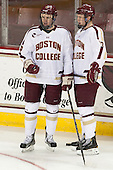 Brooks Dyroff (BC - 14), Patrick Brown (BC - 23) - The Boston College Eagles defeated the University of Vermont Catamounts 4-1 on Friday, February 1, 2013, at Kelley Rink in Conte Forum in Chestnut Hill, Massachusetts.