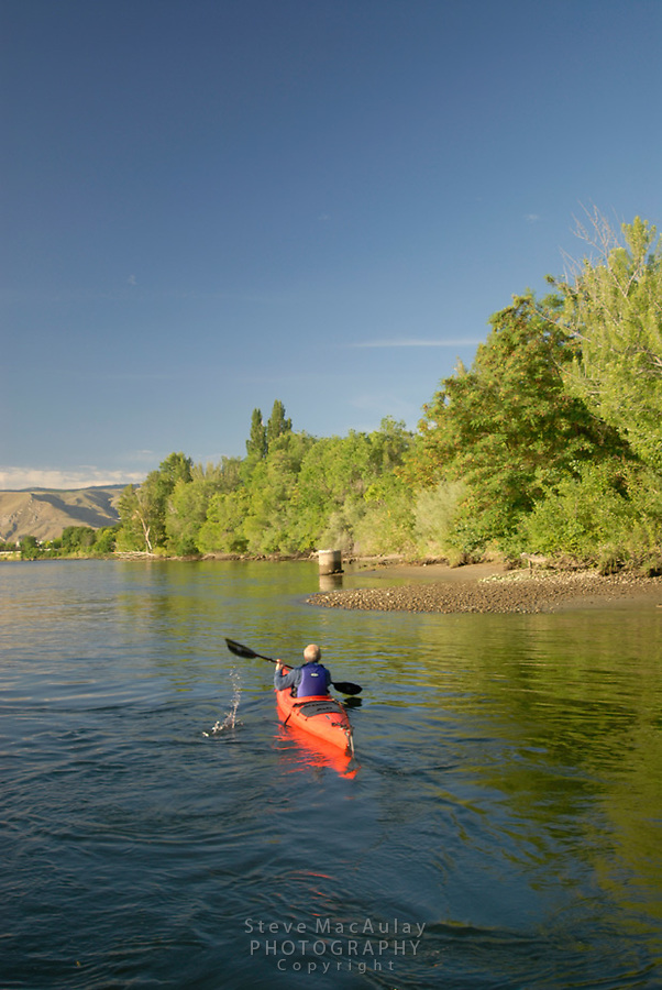 Paddling on the Wenatchee River, Wenatchee, WA.