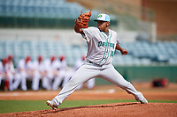 Daytona Tortugas starting pitcher Wennington Romero (14) delivers a pitch during a game against the Florida Fire Frogs on April 8, 2018 at Osceola County Stadium in Kissimmee, Florida.  Daytona defeated Florida 2-1.  (Mike Janes/Four Seam Images)