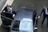 Roma, 28 Ottobre 2015<br /> Pier Carlo Padoan, ministro dell'economia, entra in automobile.<br /> Celebrata presso il Palazzo della Cancelleria la 90° Giornata mondiale del Risparmio.