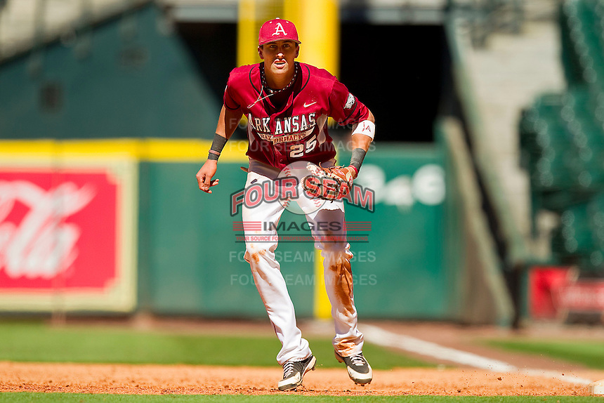 First baseman Dominic Ficociello #25 of the Arkansas Razorbacks on defense against the Texas Longhorns at Minute Maid Park on March 4, 2012 in Houston, Texas.  The Razorbacks defeated the Longhorns 7-3.  Brian Westerholt / Four Seam Images