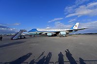 WEST PALM BEACH, FL - MARCH 08: US President Trump Visits Alabama Following Tornado Devastation and then flies to West Palm Beach. Seen here President Donald Trump along with his wife First Lady Melania Trump as they exit Air Force One and greet supporters at the Palm Beach International Airport on March 8, 2019 in West Palm Beach, Florida.<br />  <br /> CAP/MPI122<br /> &copy;MPI122/Capital Pictures