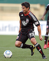 Jaime Moreno #99 of D.C. United pushes the ball forward during an international charity match against the national team of El Salvador at RFK Stadium, on June 19 2010 in Washington DC. D.C. United won 1-0.