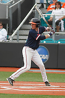 University of Virginia Cavaliers third baseman Andy Weber (19) at bat during a game against the University of Coastal Carolina Chanticleers at Springs Brooks Stadium on February 21, 2016 in Conway, South Carolina. Coastal Carolina defeated Virginia 5-4. (Robert Gurganus/Four Seam Images)