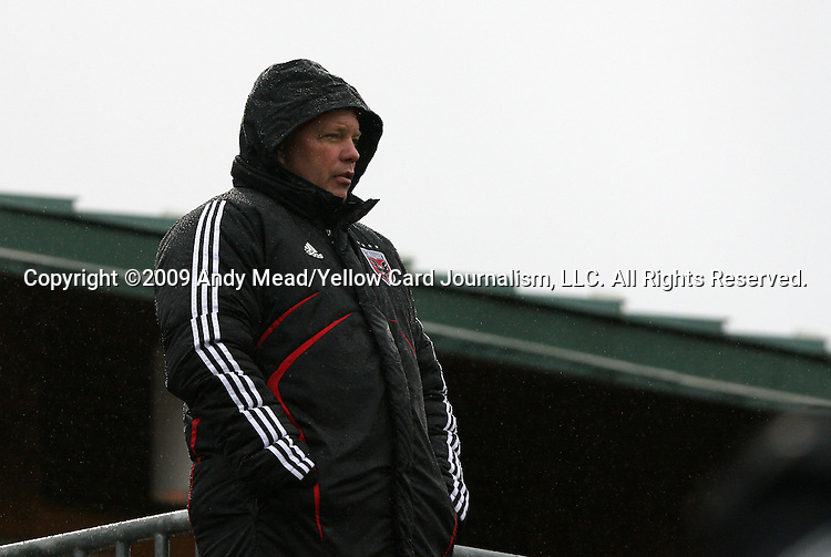 13 December 2009: DC United assistant coach Chad Ashton scouts the game. The University of Akron Zips played the University of Virginia Cavaliers at WakeMed Soccer Stadium in Cary, North Carolina in the NCAA Division I Men's College Cup Championship game.