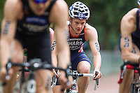 31 MAY 2014 - LONDON, GBR - Matt Sharp (GBR) (ENG) (centre) of Great Britain and England cycles in the pack during the men's 2014 ITU World Triathlon Series round in Hyde Park, London, Great Britain (PHOTO COPYRIGHT © 2014 NIGEL FARROW, ALL RIGHTS RESERVED)