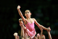 "Young rhythmic gymnasts from Ukraine (Kiev) perform during gala at 2007 World Cup Kiev, ""Deriugina Cup"" in Kiev, Ukraine on March 18, 2007."