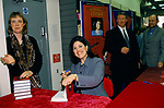 Monica Lewinsky, fans wait outside a bookshop where she is due to sign copies of her book Monica's Story, 1999 London UK PR people.