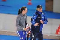 SCHAATSEN: BERLIJN: Sportforum Berlin, 05-12-2014, ISU World Cup, Heather Richardson (USA), Jillert Anema (trainer/coach Team Clafis), ©foto Martin de Jong