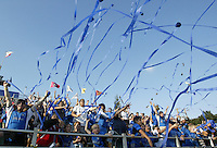 24 October 2004: San Jose Earthquakes' fans celebrate with the Earthquakes after defeating Wizards, 2-0 at Spartan Stadium in San Jose, California.   Credit: Michael Pimentel / ISI