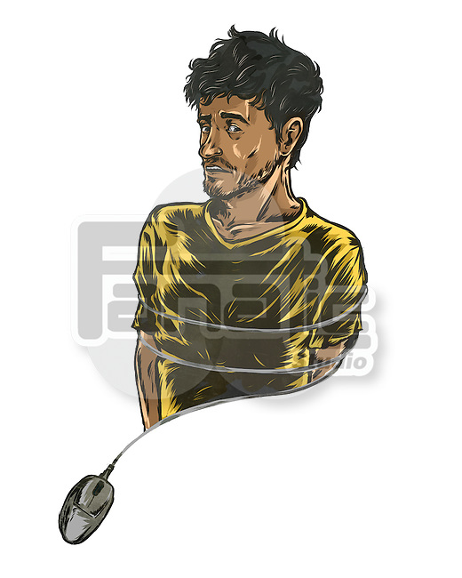 Illustrative image of man tied with computer mouse representing internet addiction