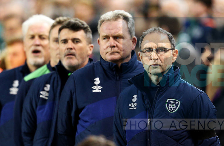 Republic of Ireland manager Martin O'Neill with Roy Keane and coaching staff  during the Group D World Cup Qualifier at the Aviva Stadium, Dublin. Picture date: March 24th, 2017. Pic credit should read: Matt McNulty/Sportimage
