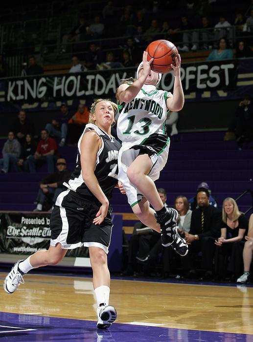 21 January 2008: King Holiday Hoopfest, Seattle WA..  Kylie Huerta goes for the basket at the UW Bank of America Arena