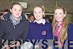 LISTENING: Students from Causeway Comprehensive School listening to Holocaust survivor, Tomi Reichental at Scoil Phobail Sliabh Luachra in Rathmore on Thursday, l-r: Ciara Walsh, Rosie Young, Niamh Guerin..