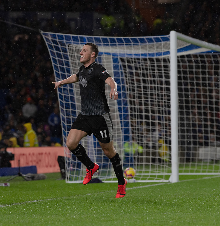 Burnley's Chris Wood celebrates scoring his side's second goal <br /> <br /> Photographer David Horton/CameraSport<br /> <br /> The Premier League - Brighton and Hove Albion v Burnley - Saturday 9th February 2019 - The Amex Stadium - Brighton<br /> <br /> World Copyright &copy; 2019 CameraSport. All rights reserved. 43 Linden Ave. Countesthorpe. Leicester. England. LE8 5PG - Tel: +44 (0) 116 277 4147 - admin@camerasport.com - www.camerasport.com