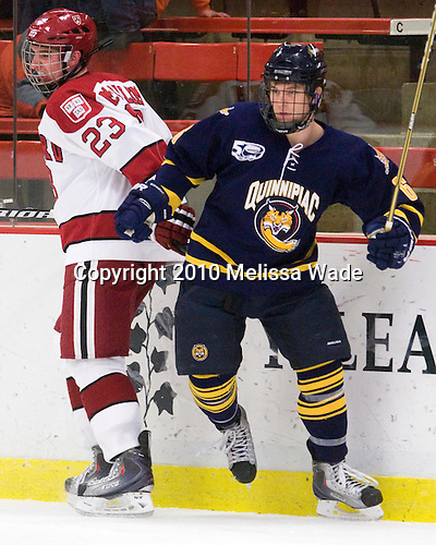 Matt McCollem (Harvard - 23), Cory Hibbeler (Quinnipiac - 6) - The visiting Quinnipiac University Bobcats defeated the Harvard University Crimson 3-1 on Wednesday, December 8, 2010, at Bright Hockey Center in Cambridge, Massachusetts.