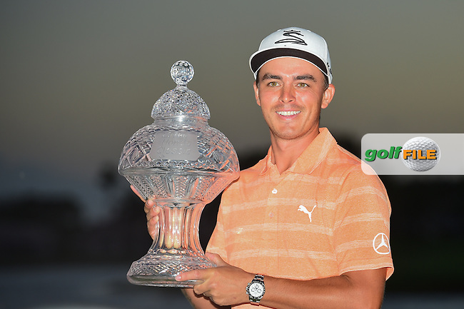 Rickie Fowler (USA) holds the trophy for winning the Honda Classic, PGA National, Palm Beach Gardens, West Palm Beach, Florida, USA. 2/26/2017.<br /> Picture: Golffile | Ken Murray<br /> <br /> <br /> All photo usage must carry mandatory copyright credit (&copy; Golffile | Ken Murray)