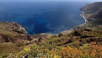 View of the Las Playas coastline showing the Parador Nacional on the right and punta de la Bonanza on the right. El Hierro, Canary Islands. Spain.