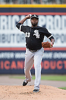 Chicago White Sox relief pitcher Jairo Asencio (63) warms up in the bullpen during the game against the Charlotte Knights at BB&T Ballpark on April 3, 2015 in Charlotte, North Carolina.  The Knights defeated the White Sox 10-2.  (Brian Westerholt/Four Seam Images)