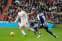 Real Madrid´s Isco and Deportivo de la Coruna's Ivan Cavaleiro during 2014-15 La Liga match between Real Madrid and Deportivo de la Coruna at Santiago Bernabeu stadium in Madrid, Spain. February 14, 2015. (ALTERPHOTOS/Luis Fernandez) /NORTEphoto.com