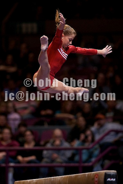 3/1/08 - Photo by John Cheng -  Shawn Johnson of the United States performs on the balance beam at the Tyson American Cup in Madison Square GardenPhoto by John Cheng - Tyson American Cup 2008 in Madison Square Garden, New York.Shawn Johnson