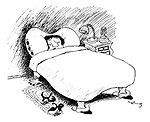 (A woman fast asleep in bed with her hands and feet acting as the legs of the bed)