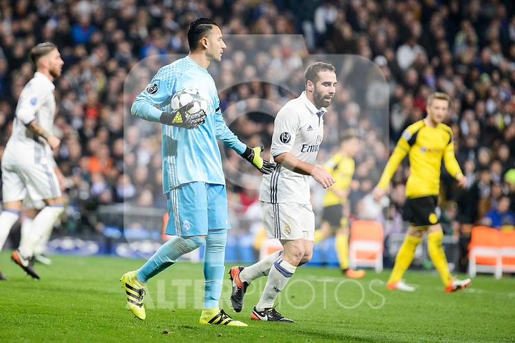 Real Madrid's Keylor Navas and Daniel Carvajal during the UEFA Champions League match between Real Madrid and Borussia Dortmund at Santiago Bernabeu Stadium in Madrid, Spain. December 07, 2016. (ALTERPHOTOS/BorjaB.Hojas)