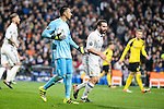Real Madrid's Keylor Navas and Daniel Carvajal during the UEFA Champions League match between Real Madrid and Borussia Dortmund at Santiago Bernabeu Stadium in Madrid, Spain. December 07, 2016. (ALTERPHOTOS/BorjaB.Hojas)