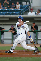 Jeff Mathis of the Rancho Cucamonga Quakes bats during a game at The Epicenter on July 3, 2003 in Rancho Cucamonga, California. (Larry Goren/Four Seam Images)