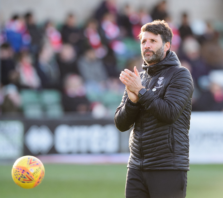 Lincoln City manager Danny Cowley during the pre-match warm-up<br /> <br /> Photographer Chris Vaughan/CameraSport<br /> <br /> The EFL Sky Bet League Two - Lincoln City v Northampton Town - Saturday 9th February 2019 - Sincil Bank - Lincoln<br /> <br /> World Copyright © 2019 CameraSport. All rights reserved. 43 Linden Ave. Countesthorpe. Leicester. England. LE8 5PG - Tel: +44 (0) 116 277 4147 - admin@camerasport.com - www.camerasport.com