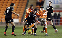 Barnsley&rsquo;s Mike-Steven B&auml;hre battles with Blackpool's Donervon Daniels (left) and Jordan Thompson<br /> <br /> Photographer Rich Linley/CameraSport<br /> <br /> The EFL Sky Bet League One - Blackpool v Barnsley - Saturday 22nd December 2018 - Bloomfield Road - Blackpool<br /> <br /> World Copyright &copy; 2018 CameraSport. All rights reserved. 43 Linden Ave. Countesthorpe. Leicester. England. LE8 5PG - Tel: +44 (0) 116 277 4147 - admin@camerasport.com - www.camerasport.com